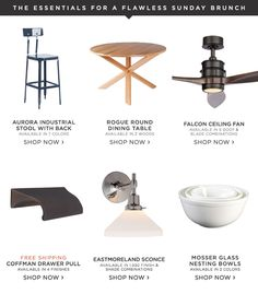 Lighting, furniture & hardware. All the essentials for a flawless Sunday brunch.