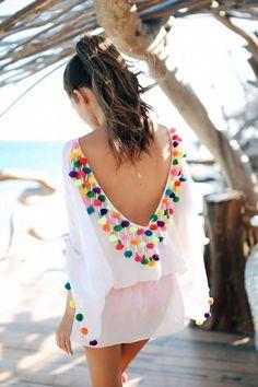 Pom pom coverup by Sundress - swimsuit style Look Fashion, Street Fashion, Fashion Outfits, Womens Fashion, Dress Fashion, Fashion Beauty, Fashion Moda, Bohemian Mode, Boho Chic