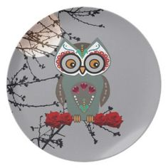 Sugar Owl Dinner Plate - Halloween happyhalloween festival party holiday