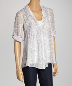 Another great find on #zulily! LOVE STITCH Gray & Coral Dot Button-Up by LOVE STITCH #zulilyfinds