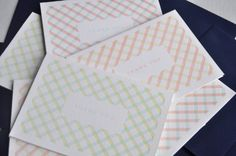 pastel gingham thank you cards