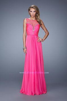 US$139.99 Wholesale 2015 A-line Fuchsia Chiffon And Organza Long Prom Dress /Formal Dress/ Evening dress La Femme 20956 from - US.homecomingnightgirl.com