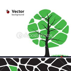 Tree illustration with green leafs. Nature symbol graphic design
