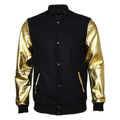 VIPARO Gold Leather Arm Sleeves And Black Wool Varsity Jacket - Archie (4.984.405 IDR) ❤ liked on Polyvore