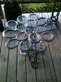 The Cowboy's Patio Table : constructed from used horse shoes. The… | Spark | eHow.com