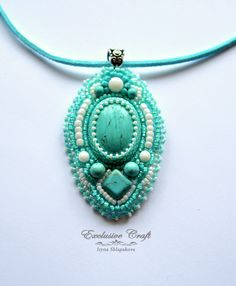 "Bead embroidered pendant ""Glacier"""