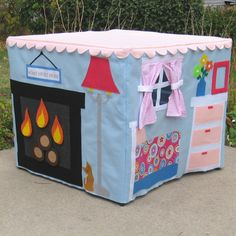 Around the House Card Table Playhouse, link to purchase, but could figure this out, so cute.
