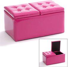Banc coffre avec coussin pour enfant couleur rose princesse