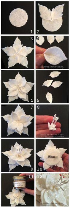 美好生活#巧手生花#手工达人DIY的花朵教程,巧用化妆棉制作圣诞花