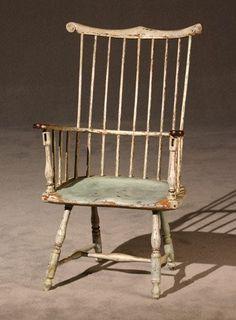 American Bluish-White Painted Brace-Back Armchair ...~♥~