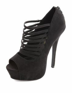 Sueded Strappy Peep Toe Pumps: Charlotte Russe