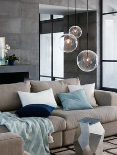 ENTRY WAY - Alternative pendant lights - Off centre to the right as you walk in to fill the window space. Aksel 1 Light 150mm Pendant in Black/Clear
