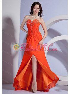 Beading Decorate Bust Sweetheart Neckline High Slit Orange Red Chiffon Brush Train 2013 Prom Dress- $145.24http://www.fashionos.com   shopping homecoming dresses | beauty and beast graduation dresses | 2013 spring prom dresses |