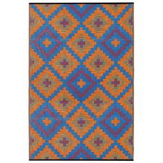Saman Orange and Blue Rug
