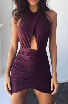 Sexy Burgundy Bodycon Homecoming Dress,Mini Halter Irregular Homecoming Party Dress · SexyPromDress · Online Store Powered by Storenvy Hoco Dresses, Tight Dresses, Homecoming Dresses, Sexy Dresses, Bridesmaid Dresses, Formal Dresses, Ribbed Knit Dress, Mini Club Dresses, Ladies Dress Design