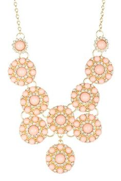 Pink Circle Medallion Necklace. Bold and romantic.