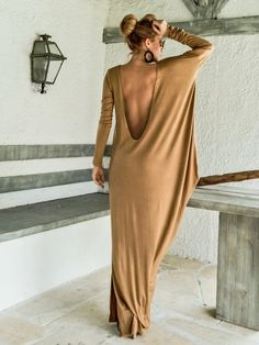 Camel Taupe Dress Kaftan with Nude See-Through by SynthiaCouture