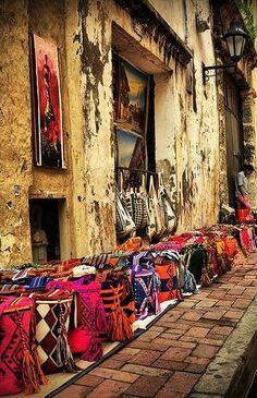 Beautiful  streets of Cartagena de Indias, Colombia