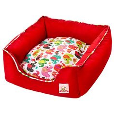 Cama pra Cachorro Quadrada Amanditta Elefantinhos Vermelha Bag Dog - MeuAmigoPet