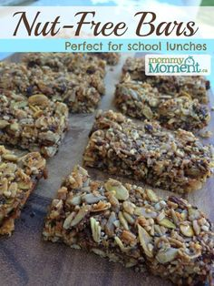 These nut-free bars are great to make and pack for school lunches! They are packed with protein and taste delicious. (Also dairy-free & Gluten-free) (mini muffin desserts healthy snacks) Low Carb Protein Bars, Healthy Protein Snacks, Healthy Lunches, Healthy Eating, Healthy Slice, Healthy Food, Healthy Bars, Healthy Grains, Healthy Breakfasts