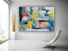 Abstract Painting Canvas Landscape Oil Painting on Canvas image 1 Large Painting, Oil Painting On Canvas, Bathroom Wall Art, Living Room Paint, Colorful Paintings, Texture Art, Abstract Wall Art, Large Wall Art, Original Paintings