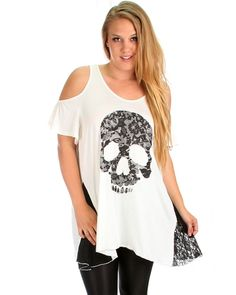 Ivory Plus Size Open Shoulder Skull Top - Abodin.com $12.97
