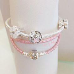 Mix and match #pandora #pandorabracelet #bracelet #silver #leather #pink #flower #accessories #jewelry #buildyourown