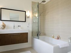 Modern Bathroom- Love the tile- I think the sink is from Ikea?