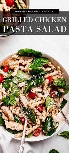 This Grilled Chicken Pasta Salad is dressed in a simple and delicious vinaigrette. Toss in whatever vegetables you have on hand or prefer. It's the perfect dish for lunch or dinner. Grilled Chicken Pasta, Chicken Pasta Salad Recipes, Chicken Spinach Pasta, Healthy Salad Recipes, Salad With Chicken, Pasta Salad With Spinach, Soup And Salad, Egg Salad, Fruit Salad