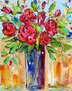 Original oil painting Roses Red on canvas  by Karensfineart