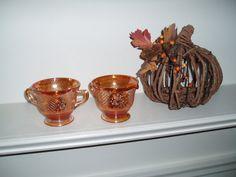 Vintage Carnival Glass Creamer and Sugar Bowl by PandBTreasures, $8.00
