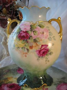 GORGEOUS TEA ROSES LIMOGES FRANCE VASE Beautiful Antique French Hand Painted Porcelain Roses Vase ~ Reticulated Base ~ Roman Gold Handles ~ ...