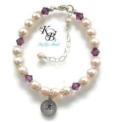 Personalized Flower Girl Bracelet, Pearl Flower Girl Bracelet, Little Girl Bracelet, Hand Stamped Jewelry