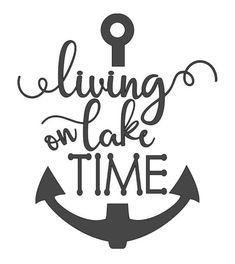 """Living on Lake Time"" heat transfer vinyl (htv)  Two color choices...black or white. 9.5"" inches wide 10.5"" inches length  This is for vinyl, shirt NOT included. Follow directions included with each purchase to apply to your favorite shirt, tank, or bag. Ensure to read label of item vinyl is being"