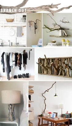 Using natural branches as decor...I really love the idea of a branch as a curtain rod, and the shelving idea too