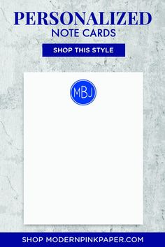 Modern and Masculine Three-Letter Monogram Stationery - Modern Pink Paper Monogram Stationary, Monogrammed Stationery, Personalized Stationary, Stationary Set, Personalized Note Cards, Correspondence Cards, Wedding Thank You Gifts, Best Gifts For Men, Pink Paper