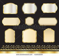 Vintage gold frames and borders on black background, set, vector illustration. For Wedding day, Celebration, greeting cards, birthday, stickers, business card - graphic design.