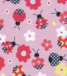 Doodles Collection Twill Fabric-Gingham Ladybug