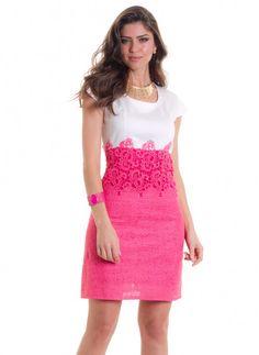 *Catálogo - Vestido c/ renda decote redondo e manga curta