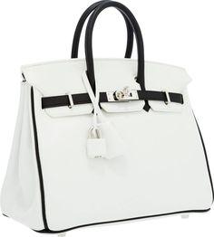 Hermes Special Order Horseshoe 25cm White & Black SwiftLeather Birkin Bag with Palladium Hardware
