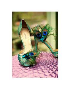Fancy Shoe Clips Peacock & Teal Bow. Spring Wedding, Sophisticated Bride Bridesmaid, Bridal Party Gift, Burlesque Boudoir, Turquoise Aqua. $42.25, via Etsy.