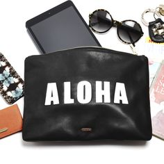 {NEED}  Bardot Clutch, Black & White Aloha - Hayden-Harnett Handbags & Accessories Online Store