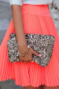 coral pleated skirt perdy!