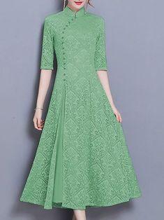 Stand Collar Sheath Half Sleeve Casual Printed Graphic Midi Dress