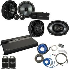 """Kicker 43CSS654 6.5"""""""" Component Speakers, 43CSC6934 6x9"""""""" Speakers. MB Quart ZA2-1600.4 4-Channel Amp & Wire Kit"""
