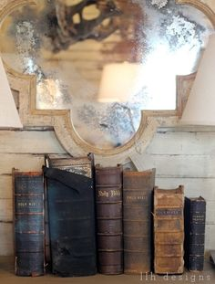 Dust off all your Old Bibles and do this with them. It may help to read them if their in sight! I like that they are all well used.