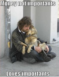 This is adorable and sad.  Many homeless and struggling individuals feed their animal companions before themselves.