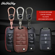 3 Button Key Cover Case For KIA K5 K3 K3S K4 SPORTAGE SORENTO CARENS SHUMA Car Logo Keychain Genuine Leather Key Cover For KIA #Affiliate 2015 Santa Fe, Santa Fe Car, Key Covers, Car Logos, Leather Key, Interior Accessories, Hyundai Santafe, Personalized Items, Button