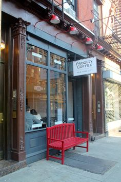 , NYC-Espresso in a New York Minute. Nyc Coffee Shop, Small Coffee Shop, Commercial Interior Design, Commercial Interiors, A New York Minute, Sidewalk Cafe, New York City Apartment, Cafe Shop, Beautiful Hotels