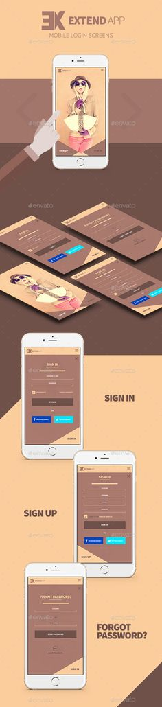 Extend - Mobile Login Screens - User Interfaces Web Elements